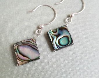 Abalone Sterling Silver Drop Earrings, Abalone Shell Earrings, Ocean Jewelry