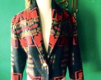 Vintage 1980's/1990's Navajo southwest style print  mid length blazer womens size M