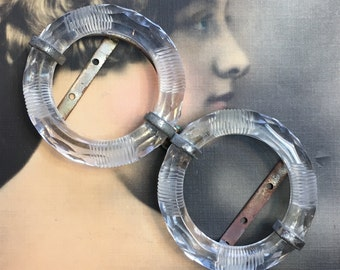 Vintage Czech Buckle Glass Rings 1930s Two Part