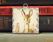 Tasha Tudor Deer Pendant - Forest Friends Charm w/ Tasha Tudor Vintage Book Illustration - Woodland Animals Pendant Deer Bunny and Duckling