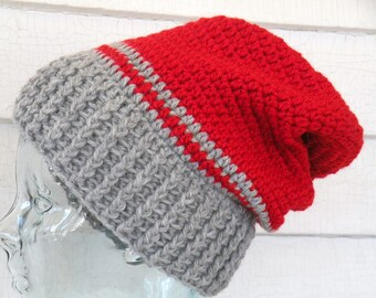 Men's Unisex Medium Red Gray Wool Striped Slouch Beanie Hat