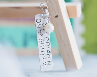 Latitude Longitude Coordinates Necklace {Sterling Silver}