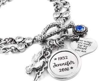 Engraved Memorial Bracelet, Personalized Memory Bracelet, Custom Remembrance Bracelet, Loss of Loved One, Your Wings were ready