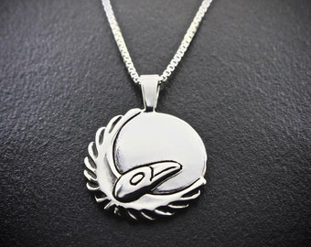 Ravens Moon Of Renewal (March) Necklace, sterling silver