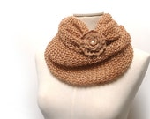 Infinity Scarf / Chunky Knit Scarf / Knitted Shawl / Loop Scarf / Cowl Scarf - Gold beige - Camel wool and silk yarn with flower button