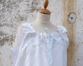 SUMMER SALES Vintage Antique old French 1900 Edwardian white cotton dress underdress with ton on ton embroiderys size S/M/L