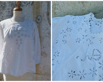 Vintage Antique 1900 French Edwardian handmade embroiderys 100% thin linen shirt blouse size S/M