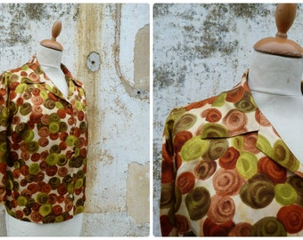 Vintage 1950 French  silk blouse floral