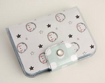 Handmade Vinyl Passport Case - Adorable / travel, passport, case, vinyl, woman's, wallet, snap, paper, hedgehog, kawaii, stars, polka dot