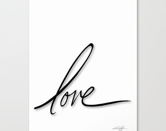 Large, Shabby Chic, Cottage Style, Black Love painting, Typography Watercolor, Giclee Canvas Art Print by Kathy Morton Stanion EBSQ