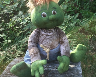 Ogre Baby finished doll, hand dyed wool