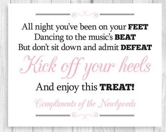 Printable 8x10 Kick Off Your Heels Black and White and Light Pink Wedding Flip Flop Basket Bucket Digital Sign - Instant Download