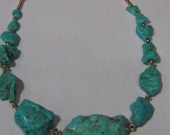 Big Chunky Natural Bisbe Turquoise Nuggets  Necklace... Gold Fill .. approx   16 3/4 inches ....  e846