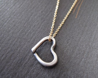 Floating Heart Necklace tiny heart for your BIG love sterling silver & 14k gold filled chain