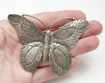De-Stash Hill Tribe Silver GIANT Butterly Moth Winged Insect Pure Silver Pendant With Stamps and Engraving Thai Silver Beading Supply