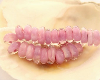30 Encased Pink Spacer Beads Handmade Lampwork