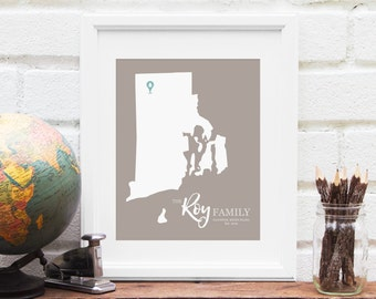 Rhode Island State Map Personalized, First Anniversary Gift, New England Bridal Shower, Belated Wedding Gift - 8x10 Art Print