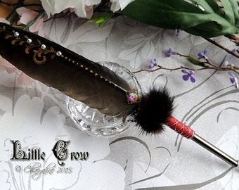 LITTLE CROW Poe Magpie Feather Quill Pen & Ink Set