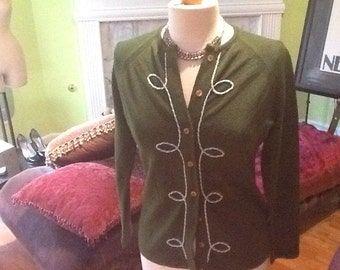 Ultra Chic Vintage Evergreen Knit Cardigan Sweater.