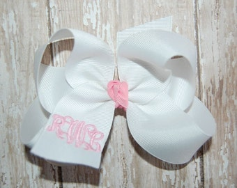 Monogram Bow - Custom Monogrammed Bow ~ Baby Headband - Custom Embroidered Bow - Personalized Bow - Your Choice of Over 99 Colors