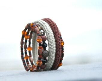 crochet beaded wrap memory wire bracelet