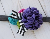 Jewel tones headband for girls sapphire headbands for newborn