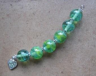 Lampwork Beads - SueBeads - Round Beads - Wispy Parrot Green Round Bead Set - Handmade Lampwork Beads - SRA M67