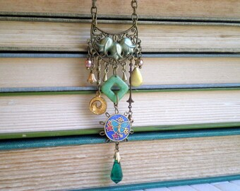 Art Nouveau Butterfly Bib Necklace by So Very Charming. Vintage / New Beads Charms & Baubles Mixed Metal Bohemian Gypsy Statement Assemblage