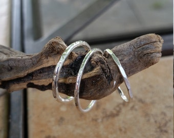 Stacking Rings..Sterling Silver..Hand Forged Rings..Stackers..Set of Three Extra Wide 2mm Stacking Rings