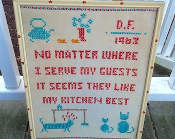 Vintage kitschy cross stitch needlepoint kitchen wall decor hanging