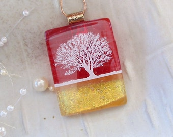 LARGE, Fused Dichroic Glass Pendant, Glass Jewelry, Necklace, Tree, Fused Glass, Necklace Included, One of a Kind, A7