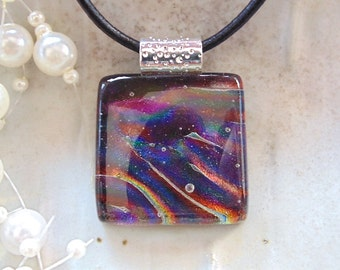 Dichroic Pendant, Glass Jewelry, Plum, Necklace Included, A9