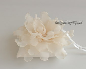 Ivory  Wedding ring pillow with cream curly flower---ring bearer pillow, wedding rings pillow , wedding pillow