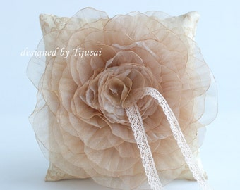 Wedding ring pillow with organza golden flower ---wedding rings pillow , wedding pillow