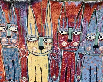 Tracey Ann Finley Beautiful Tapestry Throw Blanket High Quality Four Funky Kitty Cats & Fish