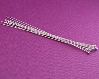 4 inch Headpins, Sterling Silver Headpins, 2.5mm Ball Headpins, 21 gauge
