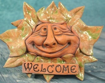 Welcome Leaf Man Plaque
