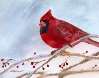 Red Cardinal on snowy branches painting Giclee Reproduction 5 x 7