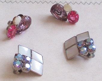 Vintage Black Diamond Rhinestone Earrings, Mother of Pearl, Square Earrings, Pink Jewelry, Purple Earrings, Mosaic Jewelry