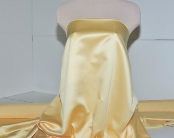 """Duchess satin Fabric 60""""  Canary Yellow... bridal, formal, pageant, suits , home decor..wedding...crafts..doll clothing"""