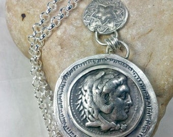 Custim for Patti- Ancient Greek Coin Pendant,  Silver and authentic Coin necklace,   Ancient coin jewelry