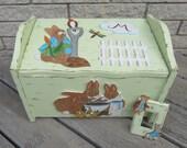 Toy Box BUNNY RABBIT - Hand Painted Keepsake - Seat/Storage