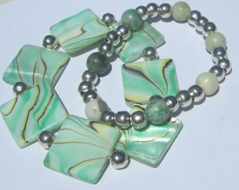 mint agate and shell set of 2 stretch bracelets hand made affordable unique by Ziporgiabella