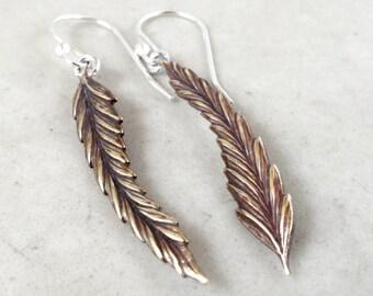 Long Leaf earrings, brass leaves, sterling silver, Nature jewelry