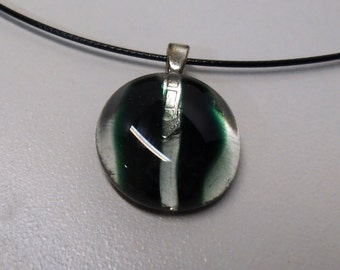 Fused glass neclace, clear and green, magnetic clasp choker