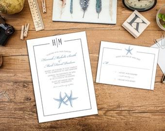 Beach Monogram Wedding Invitation Set, Wedding response cards, Thank you cards, Beach Wedding, Classy Wedding, Beach Elegance, Diy Digital