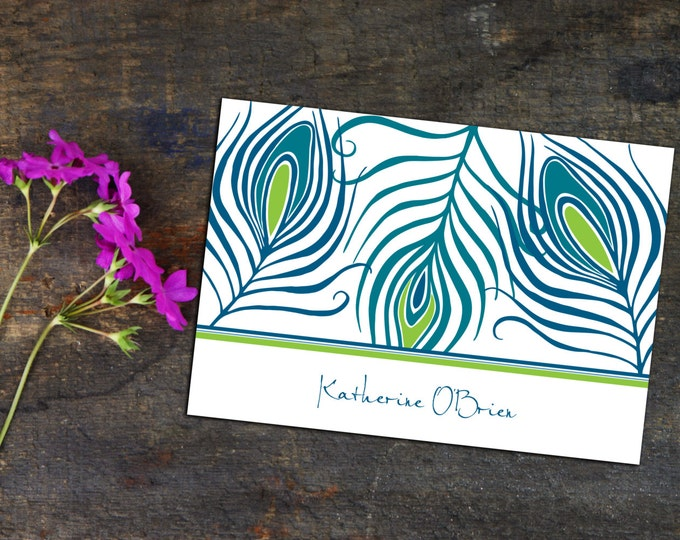 Bold modern Peacock Feathers Personalized Note card, Folded Note Cards, Set of Ten Cards, personalized Note Cards, Custom Note Cards