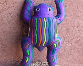 Fabulous Purple Mola Frog Pillow #2 - Whimsical Kuna Indian Reverse Applique