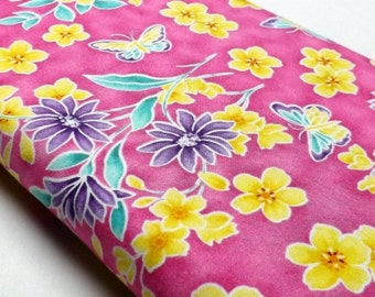Northcott Ming Garden Butterfly Butterflies Pink Blossoms Leaves Quilting and Sewing Fabrics Textiles