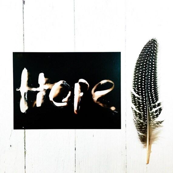 MakeForGood - Inspirational Home Decor Art Print, Black and White Photography, Hope 5x7 Photogram, Alternative Photographic Process